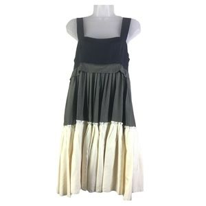 DKNY Tiered Color Block Washed Silk BabyDoll Dress